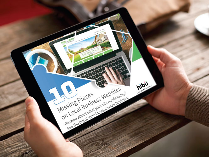 "Tablet showing Hibu's ""10 Missing Pieces on Local Business Websites"" whitepaper"