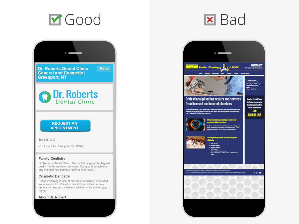 example of good and bad mobile site design