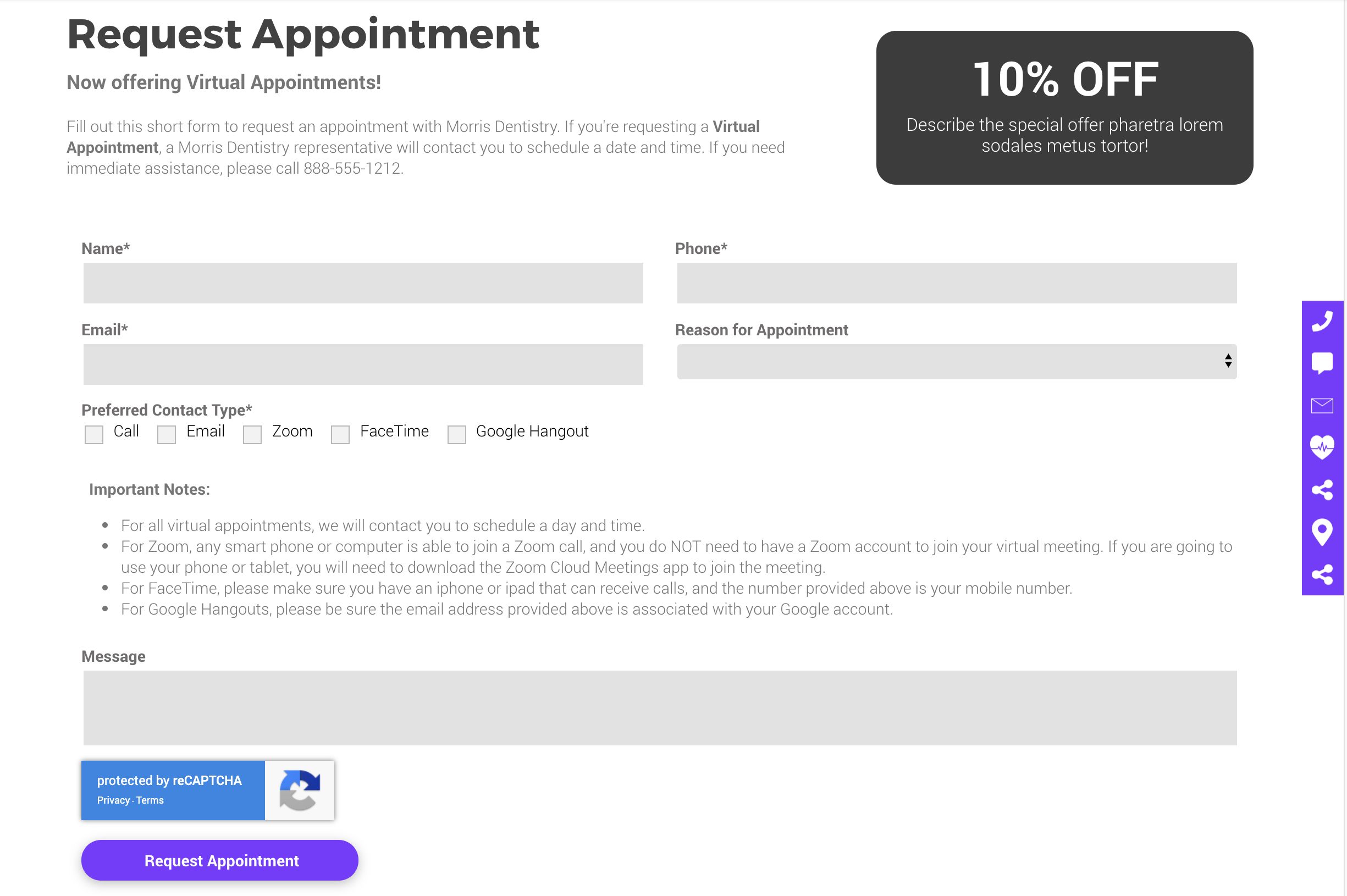 Hibu Smart Site Website Virtual Appointment Form