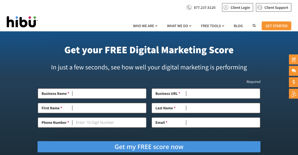 Hibu Digital Marketing Score Landing Page