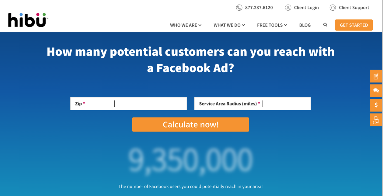 Hibu Facebook Ad Reach Calculator Landing Page