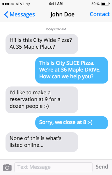 Text conversation where customer finds the wrong business name, address and hours