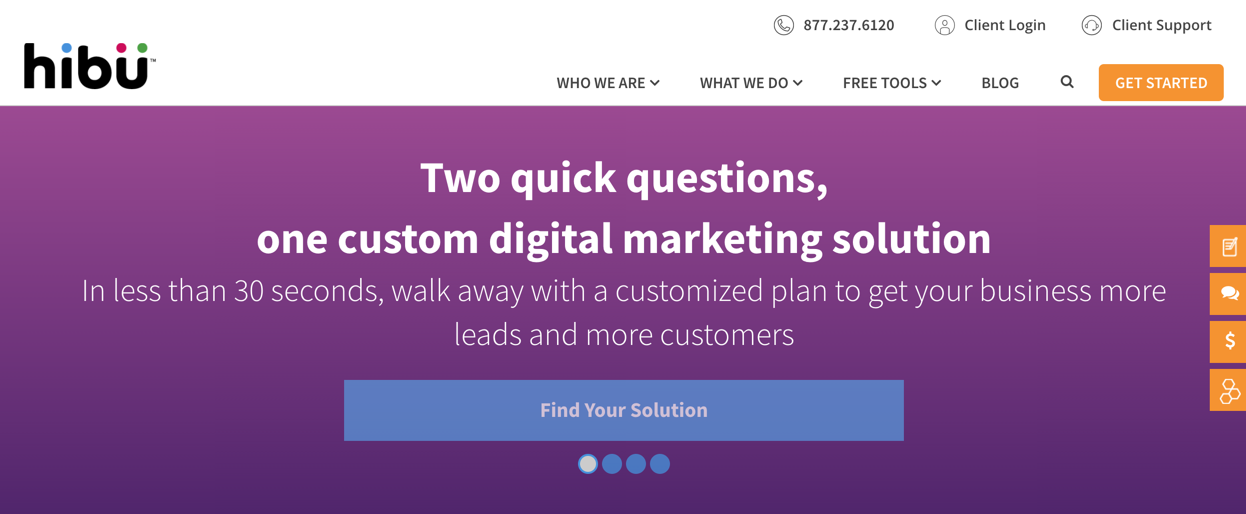 Hibu Solution Finder Landing Page