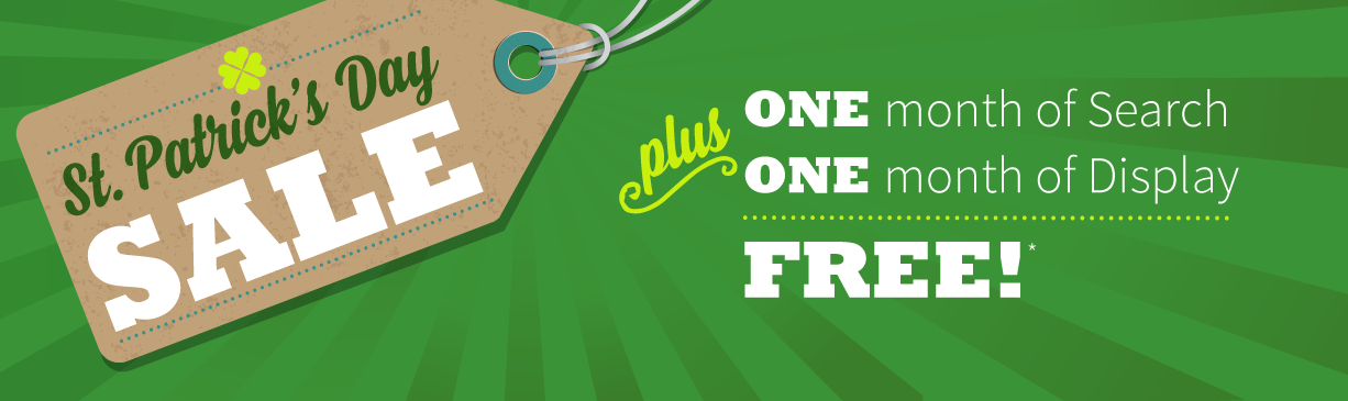 hibu St. Patrick's Day Sale: 1 month of search + 1 month of display advertising free